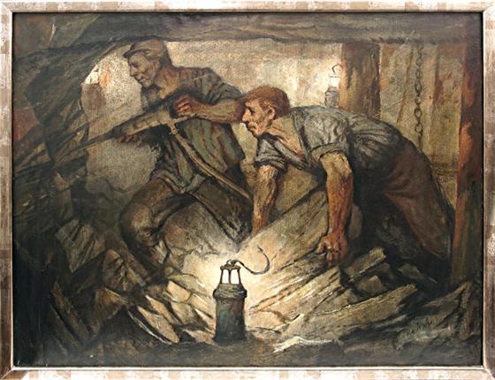 Dva horníci při práci 1950 - velký formát