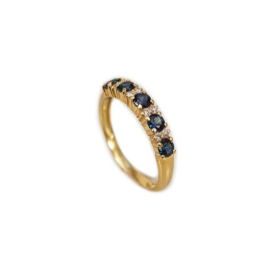 Zlatý prsten se safíry a brilianty
