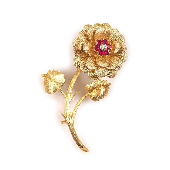 Zlatá brož s briliantem a rubíny
