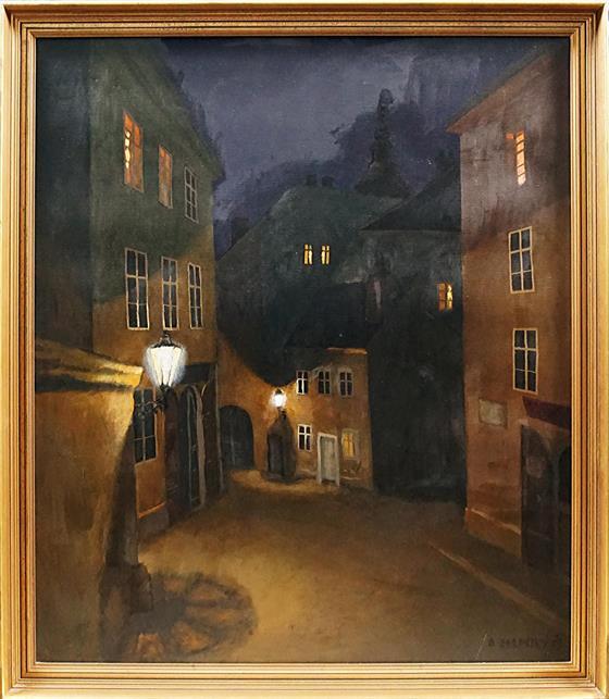 Noční ulička starého města Prahy