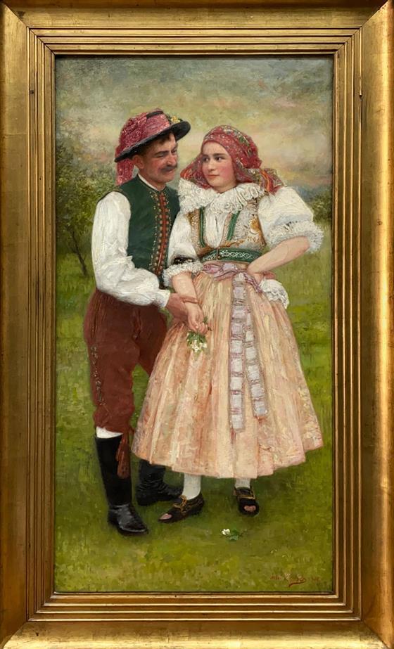 Muž a dívka v kroji - velký formát